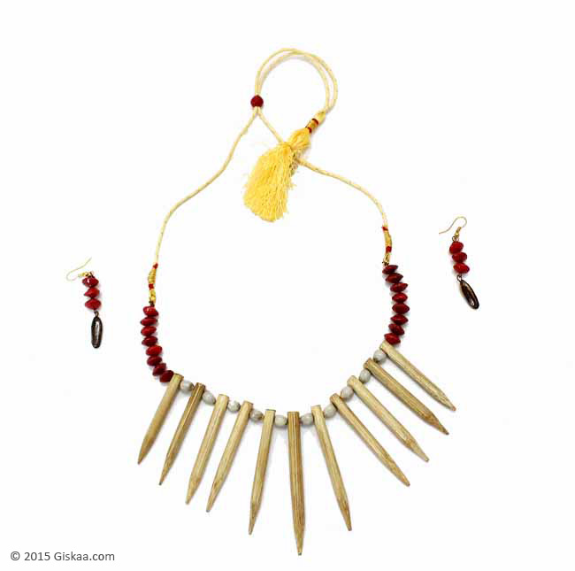 Bamboo Necklace and Earrings Set